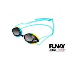 Funky okulary pływackie Training Machine błękitno-żółte