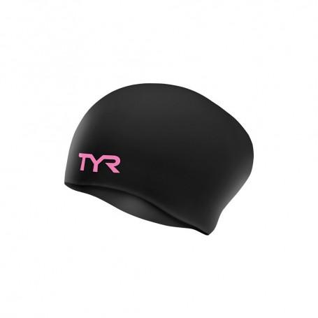 TYR czepek pływacki Long Hair black pink