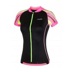 Zero RH+ Koszulka rowerowa damska Paint Jersey black/fluo pink/fluo stripes