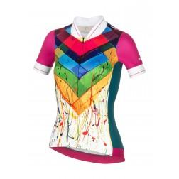 Zero RH+ Koszulka rowerowa damska Preppy Multicolor/Fucsia/Green