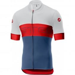 Castelli koszulka kolarska Prologo VI biało-czerwono-niebieska