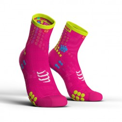 Compressport Skarpetki do biegania długie ProRacing Socks v3.0 pink fluo