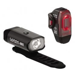 Zestaw lampki LEZYNE MINI DRIVE 400 przód 400 lumenów, KTV PRO tył 75 lumenów, usb czarne (SKLEP)