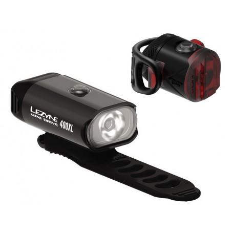 Zestaw lampki LEZYNE MINI DRIVE 400 przód 400 lumenów, FEMTO DRIVE USB tył 5 lumenów, usb czarne (NEW)
